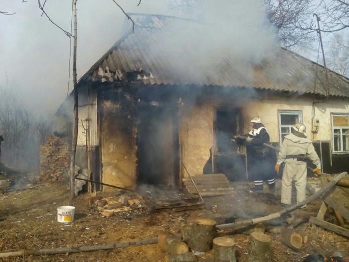 Пожарные спасли из огня человека